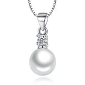 白鑽鋯石淡水珍珠吊墜 女 簡約時尚珍珠鍍銀項飾品《小師妹》ps111