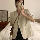 韓國CHIC夏季氣質簡約西裝領三粒扣設計休閑短袖小西服短外套女