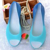 2018新款涼鞋女夏水晶塑料魚嘴果凍鞋百搭平底厚底楔形防滑洞洞沙灘鞋-Ifashion