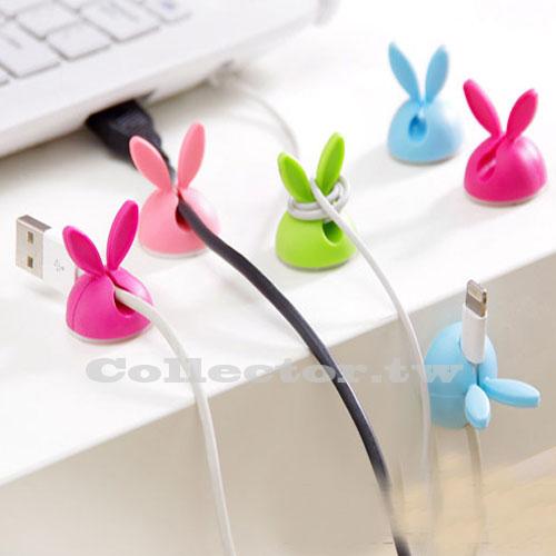 兔耳朵固線器 矽膠繞線器 夾線器 4枚裝