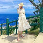 折後價不退換長裙波西米亞8037#新款女夏裝法國小眾一字肩連衣裙兩件套度假裙蛋糕裙(NE434)
