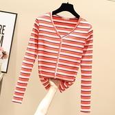小中大尺碼長袖T恤~泫雅風彩虹條紋T恤女長袖上衣韓版修身V領性感打底衫T305莎菲娜