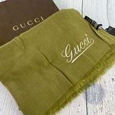BRAND楓月 GUCCI 古馳 103 綠色白LOGO圍巾 披肩 絲巾 50%喀什米爾羊毛 50%竹碳纖維 刺繡