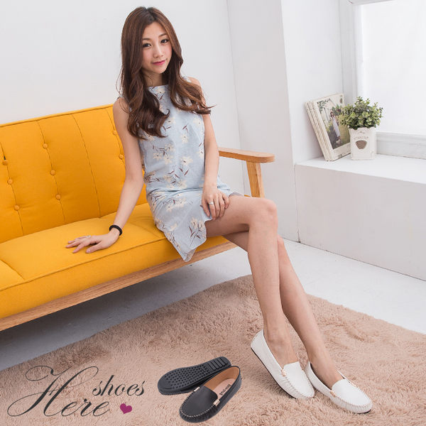 [Here Shoes]2色 豆豆鞋 休閒平底鞋 基本款皮革素面 金屬邊線車縫設計 OL百搭鞋款─AI3919