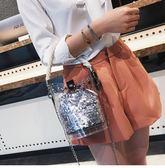 手提包女小包包女2018夏季上新透明女包水桶包迷你斜背斜背包手提包果凍包 愛麗絲精品