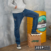 【JEEP】經典品牌刺繡刷色牛仔褲