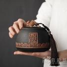 百貝 復古粗陶茶葉包裝盒 年年有余陶瓷密封存儲罐普洱茶葉罐茶倉 小時光生活館