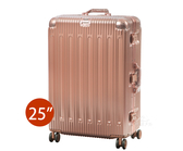 【BATOLON 寶龍】 鋁框硬殼行李箱 旅行箱 25吋 (靜音飛機輪.TSA海關鎖.輕量)『玫瑰金』BL223625