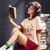【預購款】居家服夏季新款睡衣套裝女短袖短褲甜美兩件套可外穿5008#【時尚潮流部落】