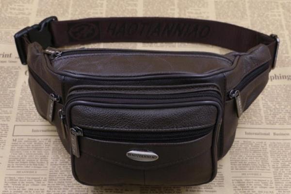 側背包真皮腰包男真皮挎包多功能大容量多層實用腰包牛皮休閒生意收錢包 可卡衣櫃