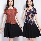 夏季中老年套裝雪紡上衣黑色裙2件套中年媽媽修身顯瘦女裝連身裙 東京衣秀