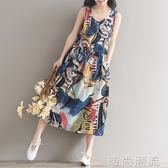 棉麻連身裙家春夏季純棉印花寬鬆洋裝女夏無袖背心中長沙灘裙 時尚潮流