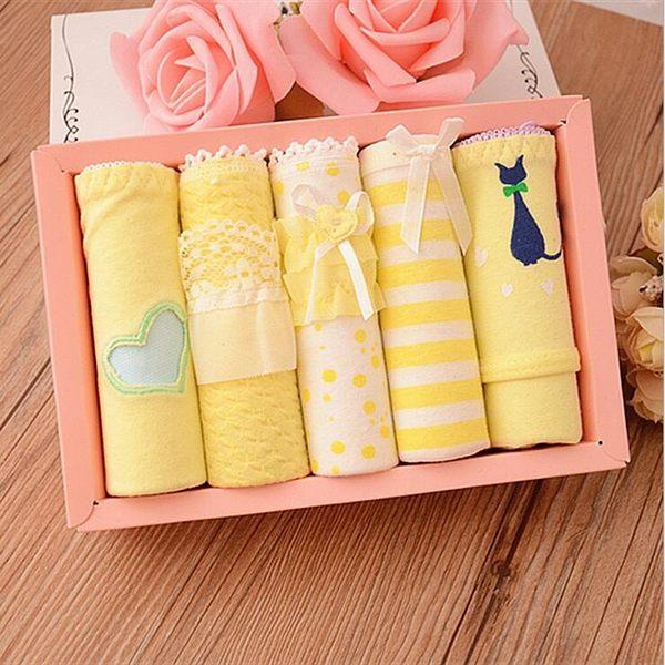 黃色系禮盒裝少女可愛三角純棉中低腰內褲 YX1242『小美日記』