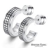 耳環 珠寶白鋼情人耳環「簡約方格」單邊單個*情人節禮