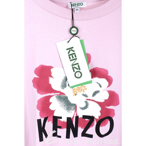KENZO 扶桑花字母粉色棉質短袖T恤 1840646-05