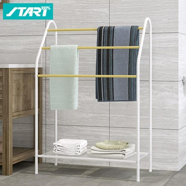 毛巾架落地式浴室衛生間晾衣架掛毛巾架免打孔簡易晾曬架置物架子WY