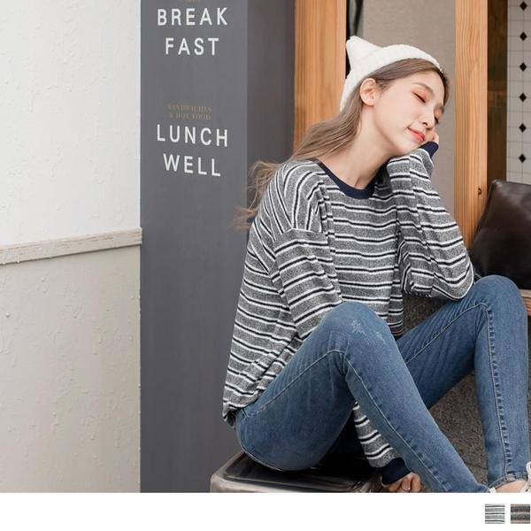 《AB8855-》柔軟毛料配色橫條紋寬鬆上衣 OB嚴選