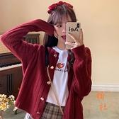 針織外套女紅色桃心開衫短款寬鬆顯瘦氣質毛衣【橘社小鎮】