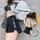 克妹Ke-Mei【AT65228】原單!appare品牌軍風側字母拉鍊牛仔短褲