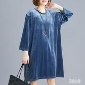 大尺碼洋裝2020年新款開春寬鬆220斤胖妹妹mm金絲絨連身裙 LF2161【男神港灣】