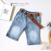 復古洗白車線後口袋英文皮革牛仔褲附腰帶丹寧褲懷舊美式哎北比