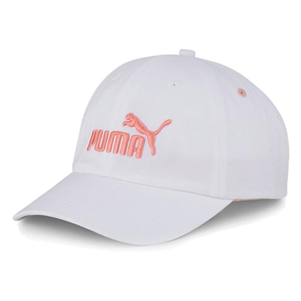 PUMA 帽子 棒球帽 老帽 ESS CAP 白 粉橘刺繡LOGO 可調式 男女 (布魯克林) 02241640