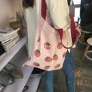 日系帆布袋大容量韓版可愛側背帆布包女百搭【橘社小鎮】