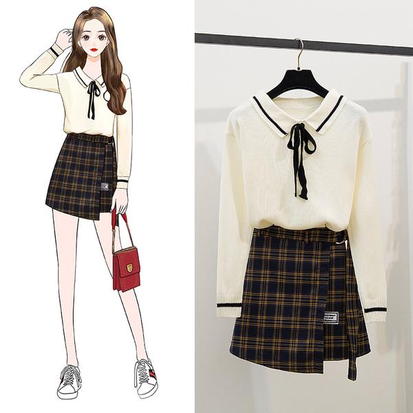 絕版出清 韓系翻領針織不規則綁帶格紋裙套裝長袖裙裝