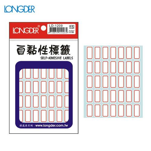 【量販50包】龍德 自黏性標籤 LD-1209(白色紅框) 10×20mm(525張/包)標示/分類/標籤/信封/貼紙/文書