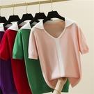 短袖針織上衣108V領針織衫t恤女短袖夏季2021時尚寬松休閑氣質上衣MA019依佳衣