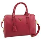 【奢華時尚】PRADA 桃紅色防刮牛皮金色浮雕LOGO手提手提斜背兩用波士頓包(九八成新)#25170