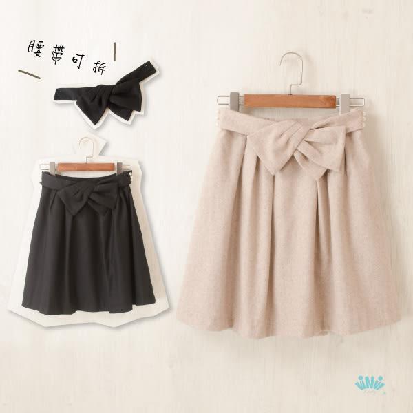 viNvi Lady 修身蝴蝶結珍珠扣薄毛呢短裙 半裙 及膝裙