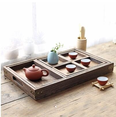 日式實木燒桐茶盤茶具茶具套裝原木分割盤桌面收納盒多功能托盤