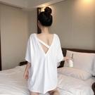 中長款T恤 短袖寬鬆韓版下衣消失夏潮鏤空背t恤女白色大碼小心機上衣設計感 店慶降價