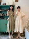 夏季2019新款學生純色中長款短袖洋裝仙女超仙甜美A字裙潮 9號潮人館