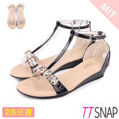 楔型涼鞋-TTSNAP Bling水鑽T字中跟涼鞋 黑/銀