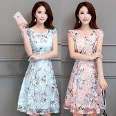 大尺碼洋裝夏天新款中長裙夏季修身拼接甜美雪紡印花蕾絲連衣裙 mc7544『東京衣社』