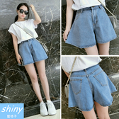 【V0853】shiny藍格子-甜搭印象.百搭超寬鬆高腰A字牛仔褲裙