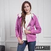 【JEEP】女裝 美式風格造型刺繡長袖外套 (紫紅)