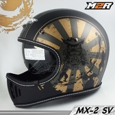 M2R 安全帽 | 23番 MX-2 SV #8 消光黑金 超輕量山車帽 復古越野帽 全罩 雙鏡設計 內藏墨鏡