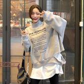 衛衣 秋冬季新款韓版高領加絨加厚套頭衛衣女寬鬆學生假兩件休閒上衣潮 曼慕衣櫃