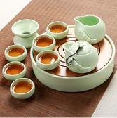 茶具套裝冰裂整套陶瓷功夫茶具竹制陶瓷「父親節禮品」TW全館免運
