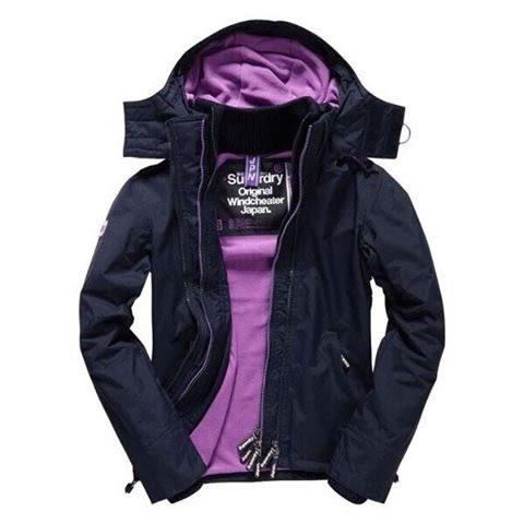 【蟹老闆】SUPERDRY 經典基本款 紫色內裡深藍色外套 防風外套 防潑水機能性風衣外套 黑標 女款