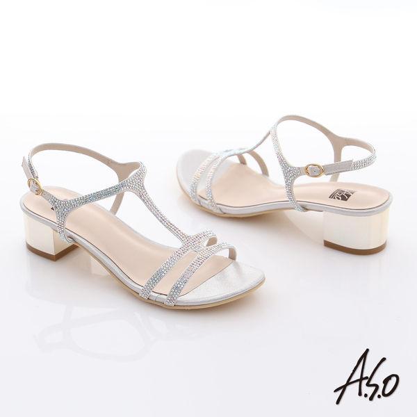A.S.O 璀燦注目 水鑽緞布T字粗低跟涼鞋  銀