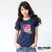 BIG TRAIN 犬張子戲水花波圓領T-女-深藍