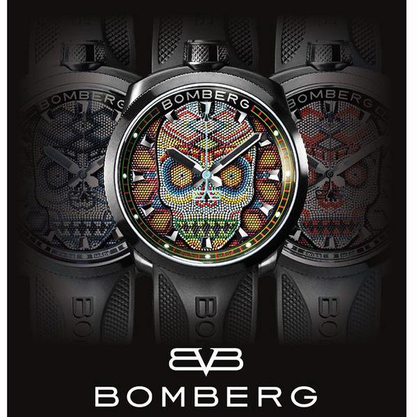 BOMBERG 炸彈錶 BOLT-68 Skull Pearl珍珠骷顱手錶-黑/45mm BS45H3PBA.SKP-3.3