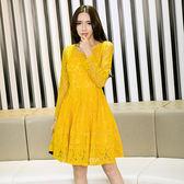 中大尺碼~網狀蕾絲拼接氣質長袖洋裝(XL)