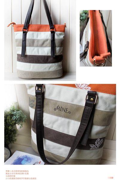 Mine系列單肩斜挎帆布包 手提女復古氣質彩條拼接包