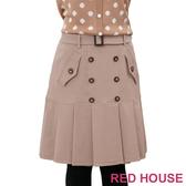 RED HOUSE-蕾赫斯-雙排釦百褶裙(共二色)