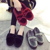 新款秋冬季棉拖鞋女包跟厚底毛絨保暖居家室內外月子鞋毛拖豆豆鞋【onecity】